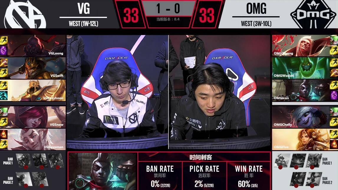 LPL春季赛3月21日 OMG vs VG 第二场